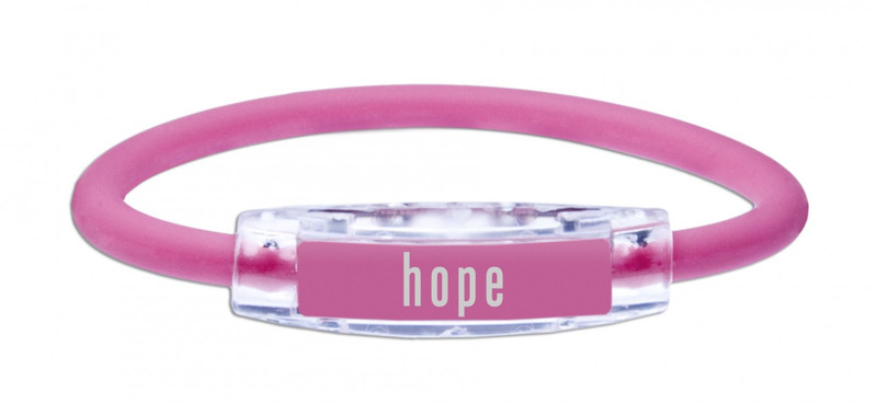 The IonLoop Pink Hope Bracelet contains negative ions and magnets. (front view)
