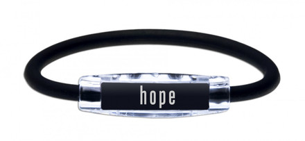The IonLoop Black Hope Bracelet contains negative ions and magnets. (front view)