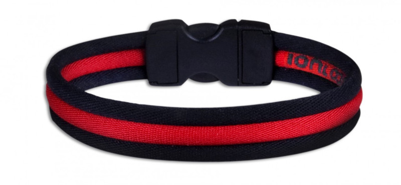 Black Stripe Ionic Bracelet with Red Stripe (back view)