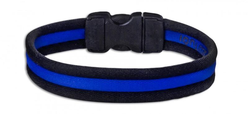 Black Stripe Ionic Bracelet with Blue Stripe (back view)