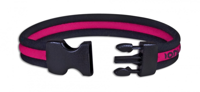Black Stripe Ionic Bracelet with Pink Stripe (front view)