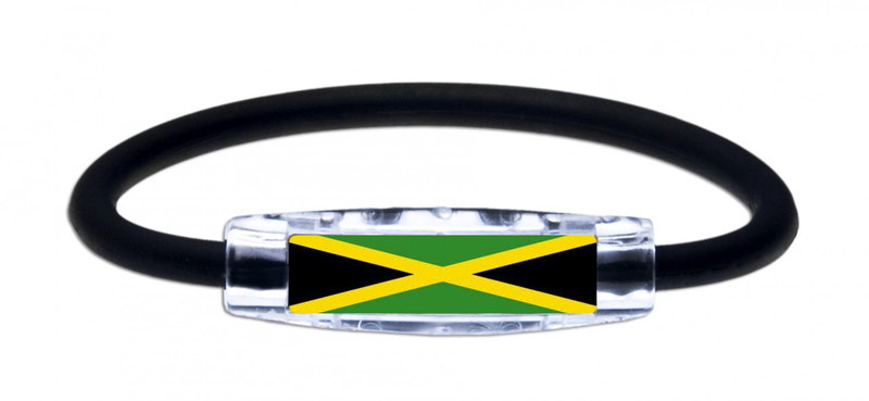 IonLoop's Jamaica Flag Bracelet with Magnets & Negative Ions (front view)
