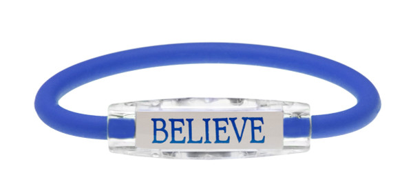 The IonLoop Believe Bracelet contains negative ions and magnets. (front view)