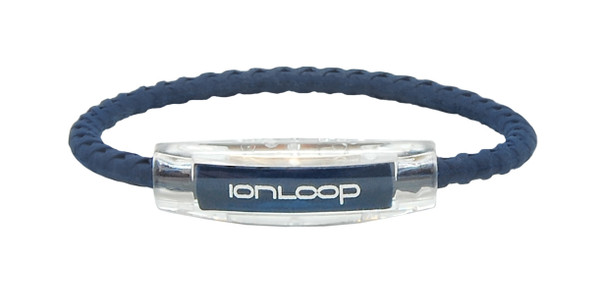 IonLoop Braided Navy Sport Bracelet (front view)