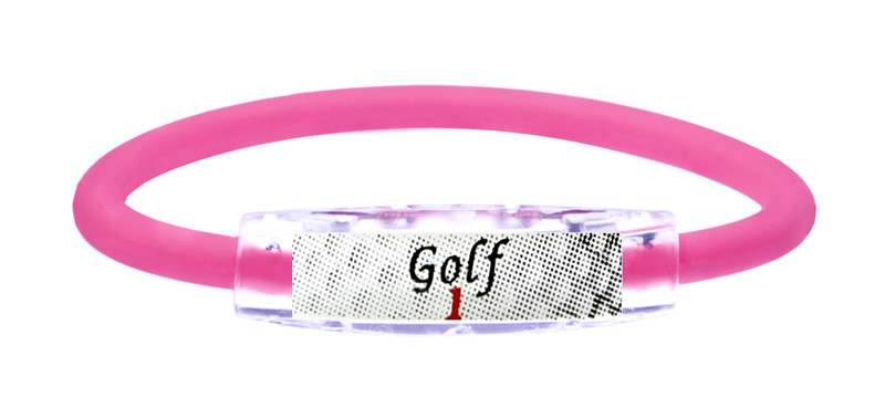The IonLoop Hot Pink Golf 1 Bracelet contains negative ions and magnets. (front view)