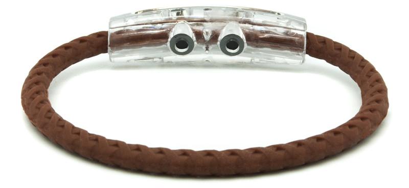 Cowboy Up Saddle Brown Braided Bracelet IonLoop Magnet (back view)