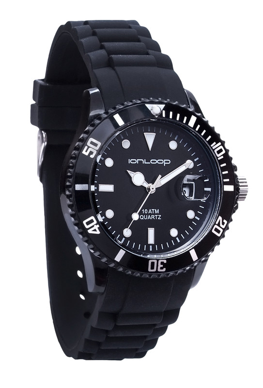 Black Unisex IonTime Sport Wrist Watch (Angle)