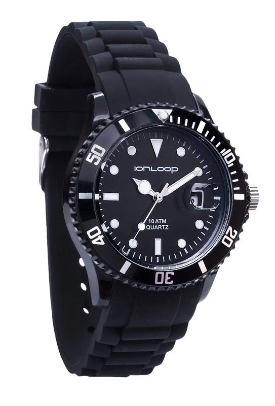 Black Unisex IonTime Sport Wrist Watch (Angle)