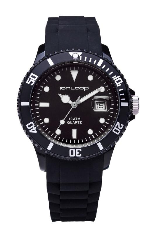 Black Unisex IonTime  Sport Wrist Watch (Front)