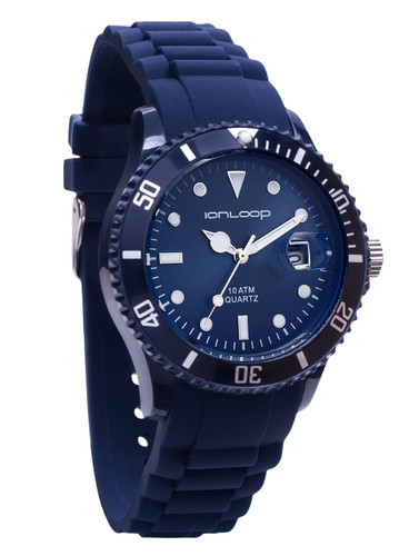 Navy Unisex IonTime Sport Wrist Watch (Angle)