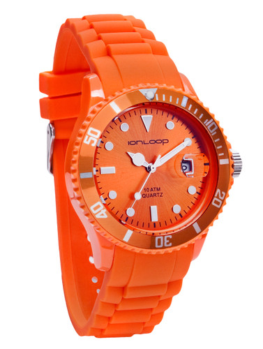 Orange Unisex IonTime Sport Wrist Watch (Angle)