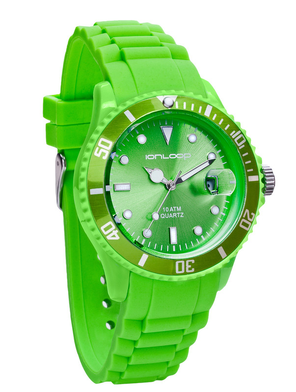 Green Unisex IonTime Sport Wrist Watch (Angle)