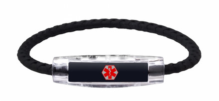 IonLoop Black Braided Universal Medical Alert Bracelet  (front view)
