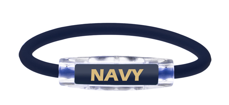 The IonLoop US Navy Bracelet contains negative ions and magnets. (front view)