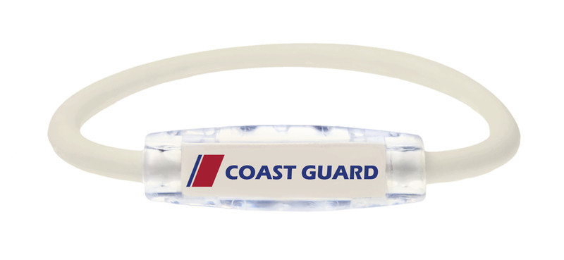 The IonLoop Coast Guard Bracelet contains negative ions and magnets. (front view)