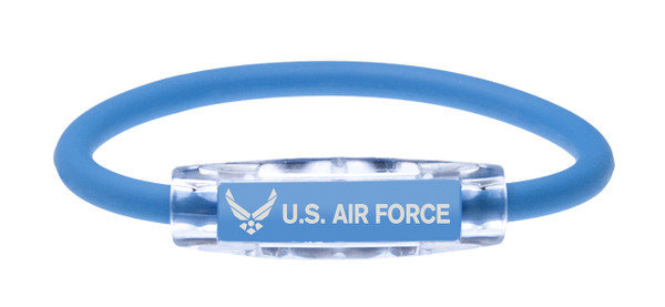 The IonLoop US Air Force Bracelet contains negative ions and magnets. (front view)