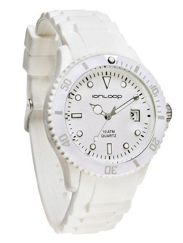 White Unisex IonTime  Sport Wrist Watch (Angle)