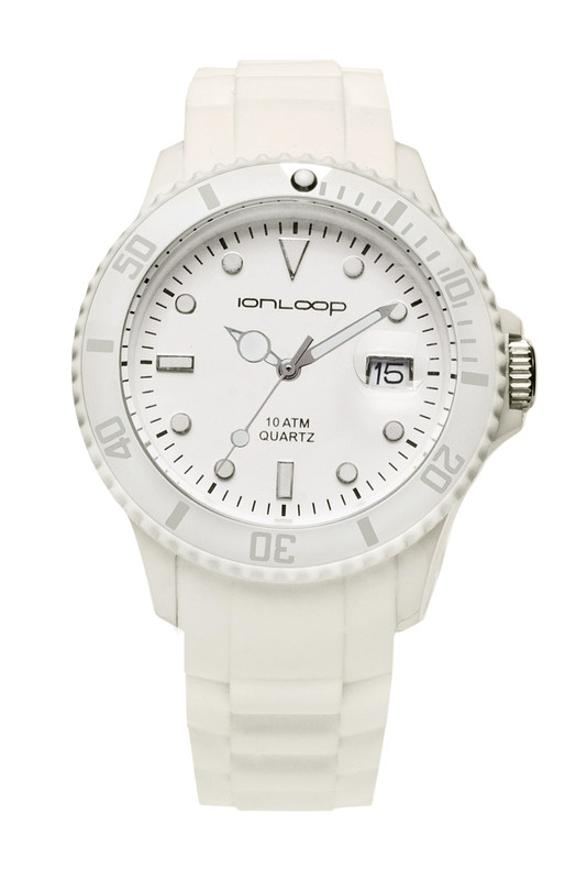 White Unisex IonTime  Sport Wrist Watch (Front)