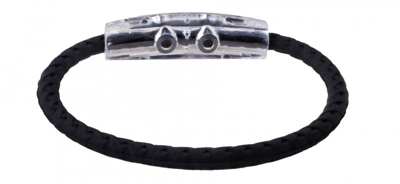 IonLoop Tennis 1 Braided Black Sport Bracelet (back view)