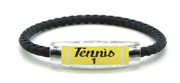 IonLoop Tennis 1 Braided Black Sport Bracelet (front view)