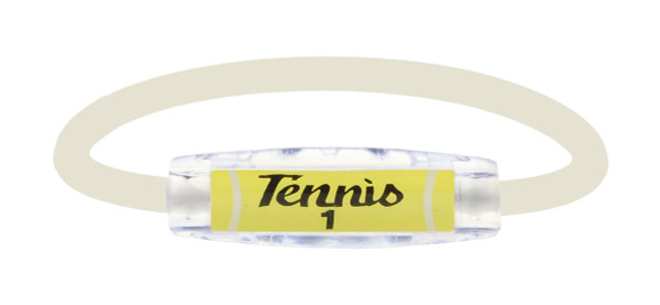Tennis 1 Pearl White Sport Bracelet contains negative ions and magnets. (front view)