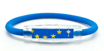 IonLoop Ryder Cup Team Europe Flag Bracelet contains negative ions and magnets. (front view)