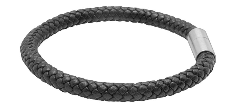 Black Leather Eight Strand Braided Bracelet - Side