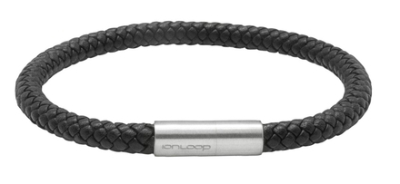 Black Leather Eight Strand Braided Bracelet - Front