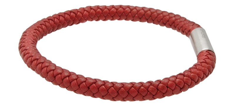 Red Leather Eight Strand Braided Bracelet - Side