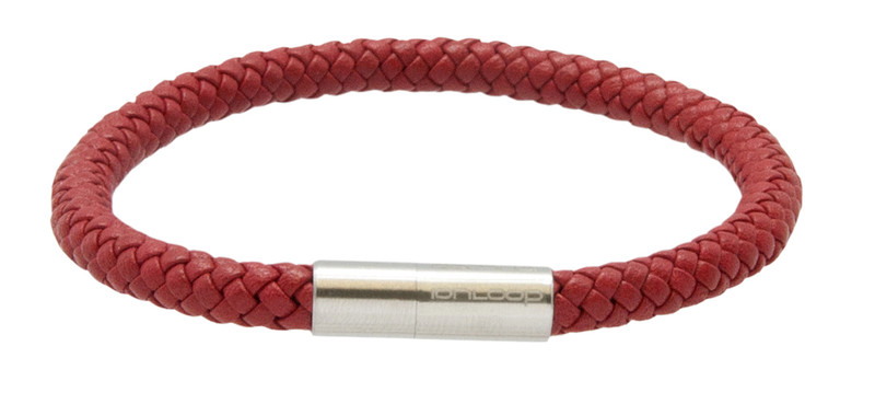 Red Leather Eight Strand Braided Bracelet - Front