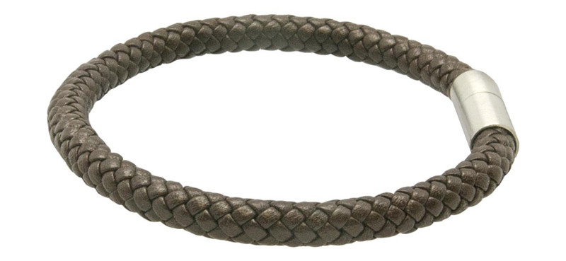 Saddle Brown Leather Bracelet (side)