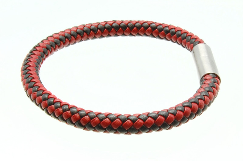 Black & Red Leather Bracelet (side)