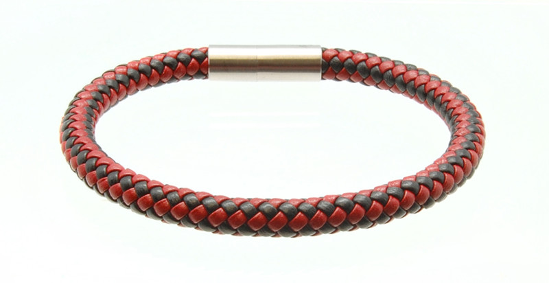 Black & Red Leather Bracelet (back)