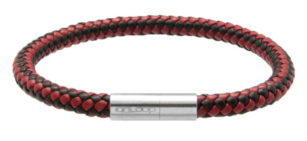 Black & Red Leather Bracelet (front)