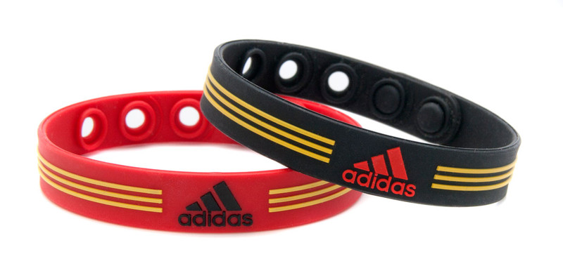Red & Black adidas Adjustable Bracelet - front