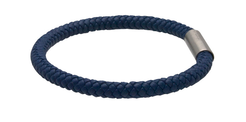 Indigo Blue Leather Bracelet (side)