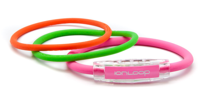 TRI Loop Hot Pink Pak  1 Hot Pink Magnet IonLoop Bracelet, 2 IonThins (Apple Green & Orange Crush)