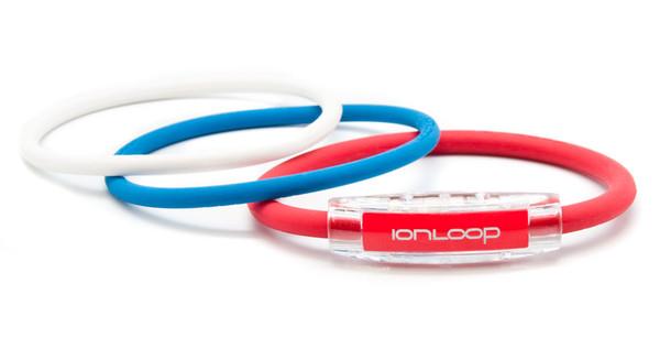 TRI Loop Ruby Red  Pak  1 Ruby Red Magnet IonLoop Bracelet, 2 IonThins (Pearl White & Pacific Blue)