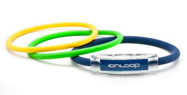 TRI Loop Navy Blue Pak  1 Navy Blue Magnet IonLoop Bracelet, 2 IonThins (Apple Green & Mellow Yellow)