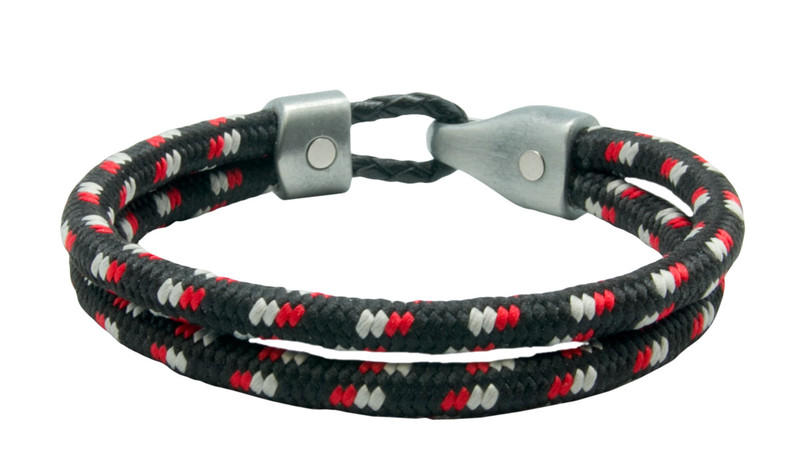 Black, Red & Grey  Fused Dual Cord Bracelet (inside & back)