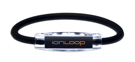 IonLoop Jet Black Sport Bracelet contains negative ions and magnets (front view)