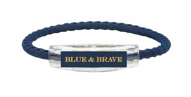 Blue & Brave Braided Navy Bracelet (front view)