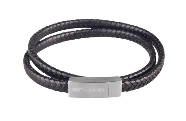 Black Double Wrap Leather Braided Bracelet  (NEWLY DESIGN CLASP FOR STYLE AND FASTENING)