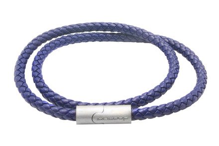 Indigo Blue Double Wrap Leather Braided Bracelet  (Front)