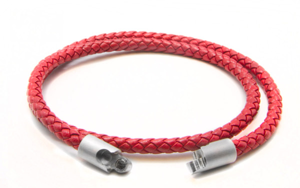 Red Double Wrap Leather Braided Bracelet  (Clasp)