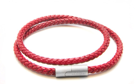 Red Double Wrap Leather Braided Bracelet  (Front)