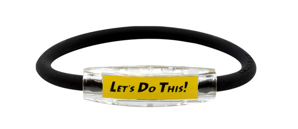 "Michael Breed Yellow ""LET'S DO THIS!  Sport Bracelet contains negative ions and magnets (side view)"