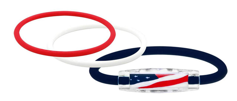 TRI Loop USA Flag Pak 1 USA Navy Magnet IonLoop Bracelet, 2 IonThins (Ruby Red, Pearl White)
