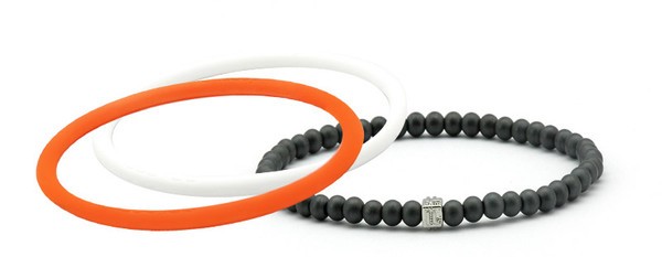 mag/fusion Orange Crush + White Pearl  Pak 1 mag/fusion magnetic Bracelet, 2 IonThins  ( Orange Crush, Pearl White)
