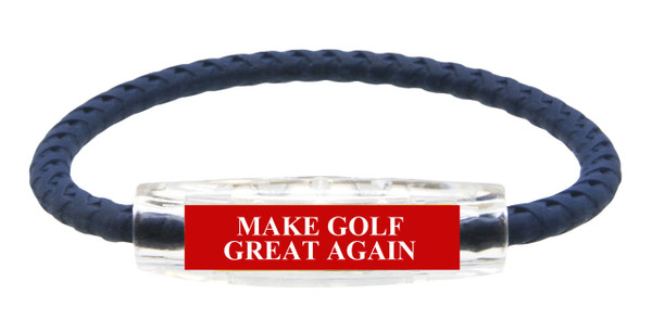 """MAKE GOLF GREAT AGAIN"" Sport Bracelet contains negative ions and magnets (side view)"